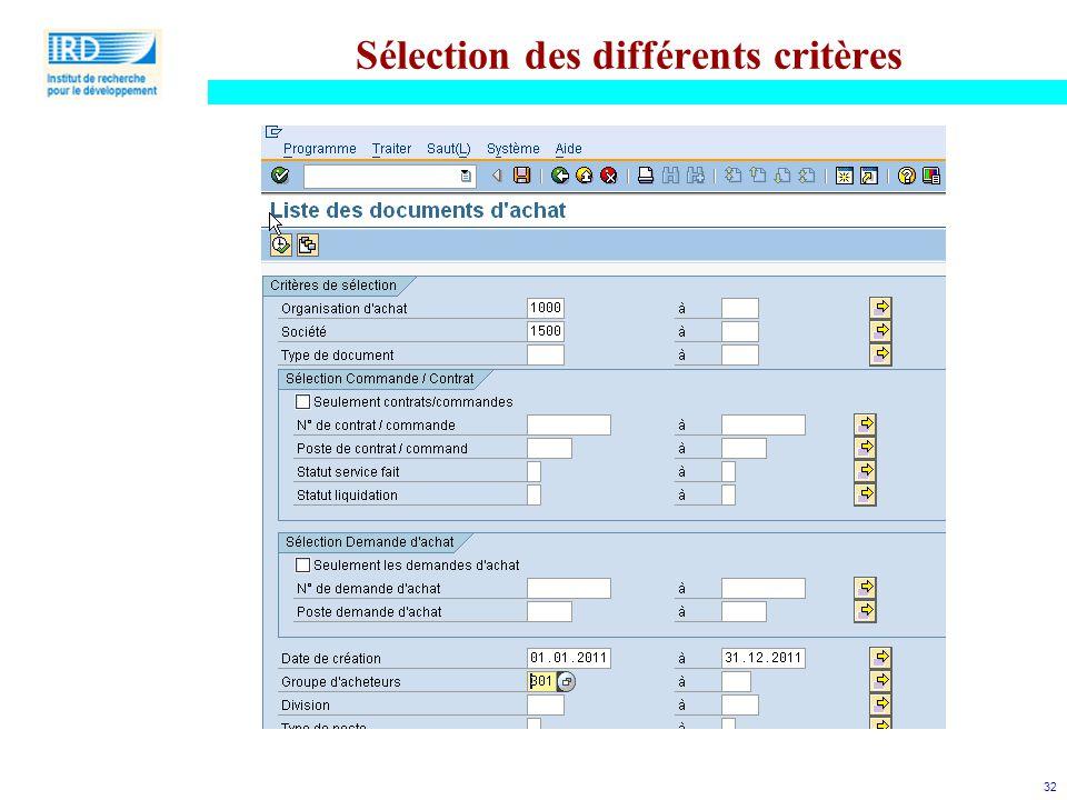 32 Sélection des différents critères