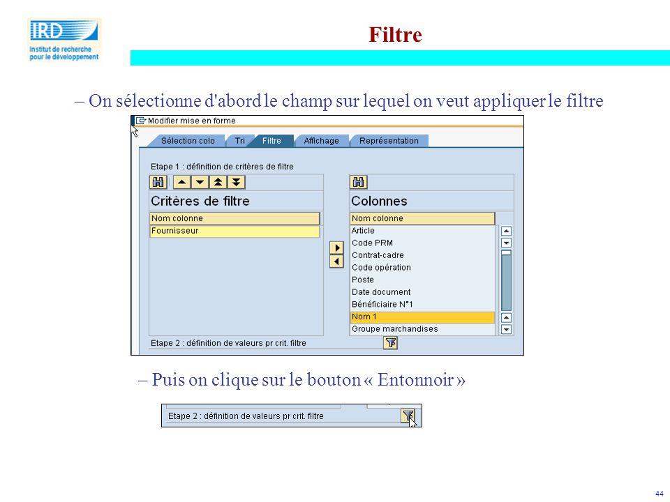 44 Filtre – On sélectionne d'abord le champ sur lequel on veut appliquer le filtre – Puis on clique sur le bouton « Entonnoir »