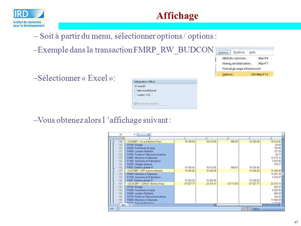 47 Affichage – Soit à partir du menu, sélectionner options / options : –Exemple dans la transaction FMRP_RW_BUDCON –Sélectionner « Excel »: –Vous obte