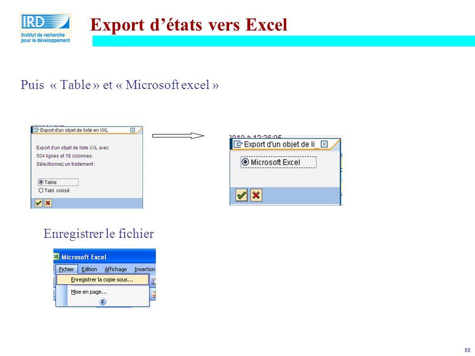 58 Export d'états vers Excel Puis « Table » et « Microsoft excel » Enregistrer le fichier