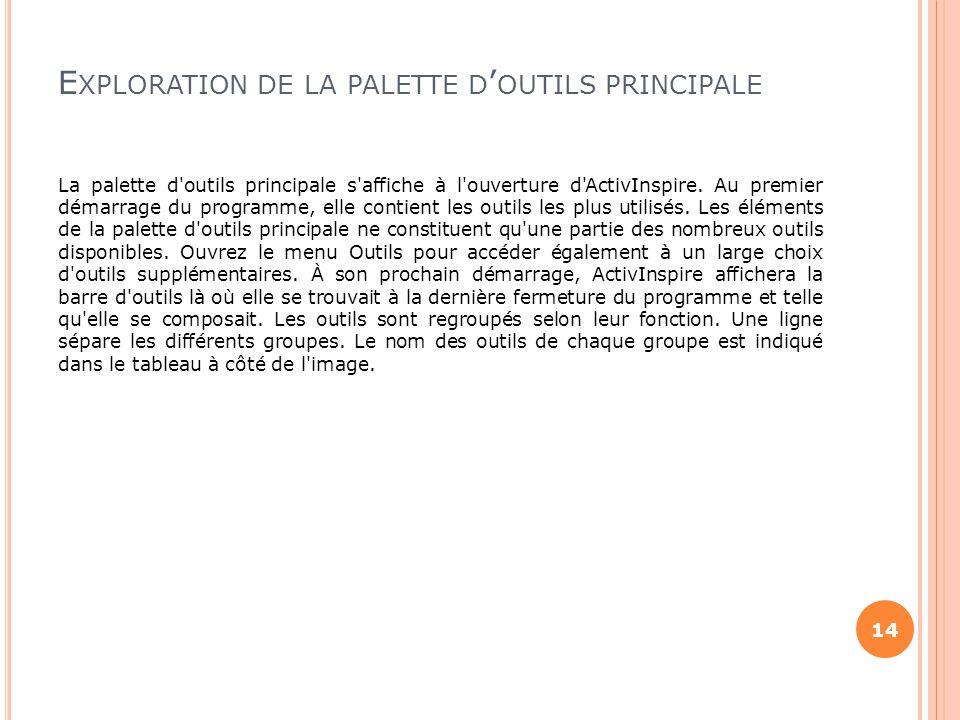 E XPLORATION DE LA PALETTE D ' OUTILS PRINCIPALE La palette d'outils principale s'affiche à l'ouverture d'ActivInspire. Au premier démarrage du progra