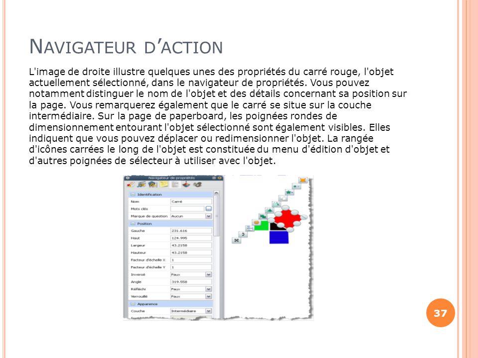 N AVIGATEUR D ' ACTION L'image de droite illustre quelques unes des propriétés du carré rouge, l'objet actuellement sélectionné, dans le navigateur de