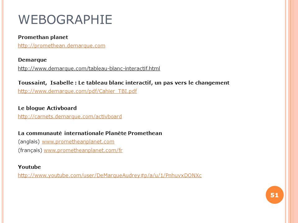 WEBOGRAPHIE Promethan planet http://promethean.demarque.com Demarque http://www.demarque.com/tableau-blanc-interactif.html Toussaint, Isabelle : Le ta