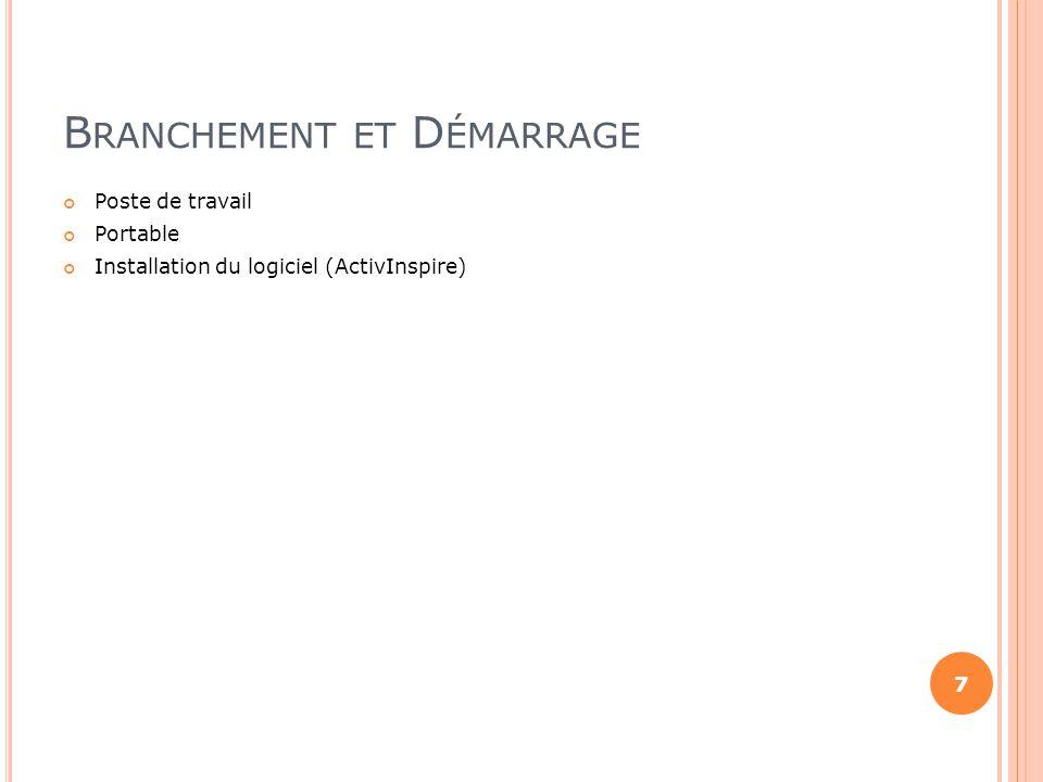 B RANCHEMENT ET D ÉMARRAGE Poste de travail Portable Installation du logiciel (ActivInspire) 7