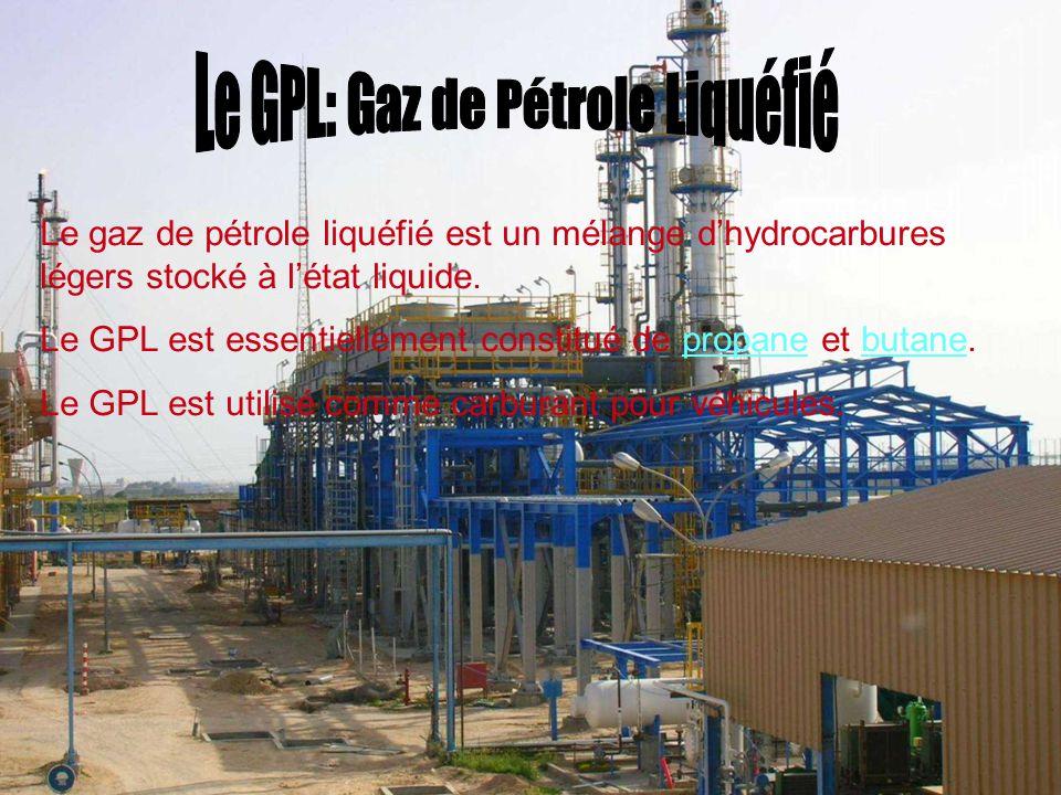 Le gaz de pétrole liquéfié est un mélange d'hydrocarbures légers stocké à l'état liquide. Le GPL est essentiellement constitué de propane et butane.pr