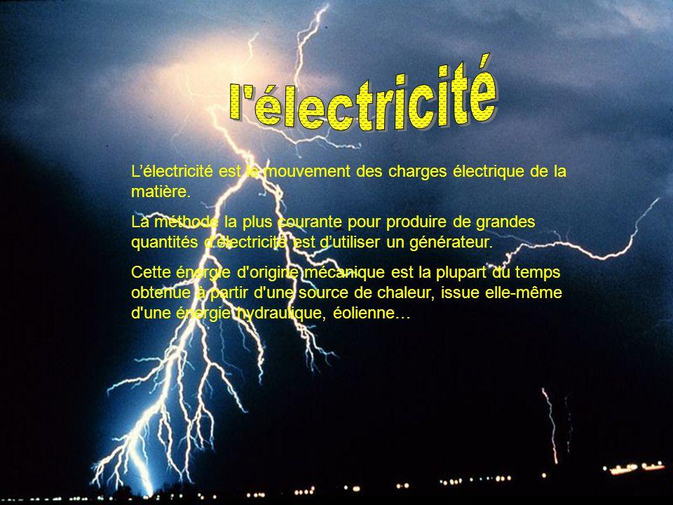 L'électricité est le mouvement des charges électrique de la matière. La méthode la plus courante pour produire de grandes quantités d'électricité est