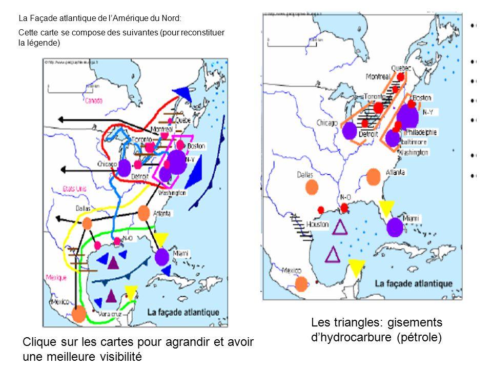 La Façade atlantique de l'Amérique du Nord: Cette carte se compose des suivantes (pour reconstituer la légende) Les triangles: gisements d'hydrocarbure (pétrole) Clique sur les cartes pour agrandir et avoir une meilleure visibilité