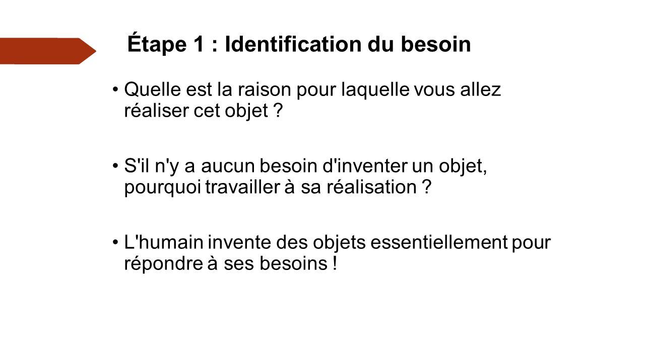 Étape 1 : Identification du besoin Quelle est la raison pour laquelle vous allez réaliser cet objet .