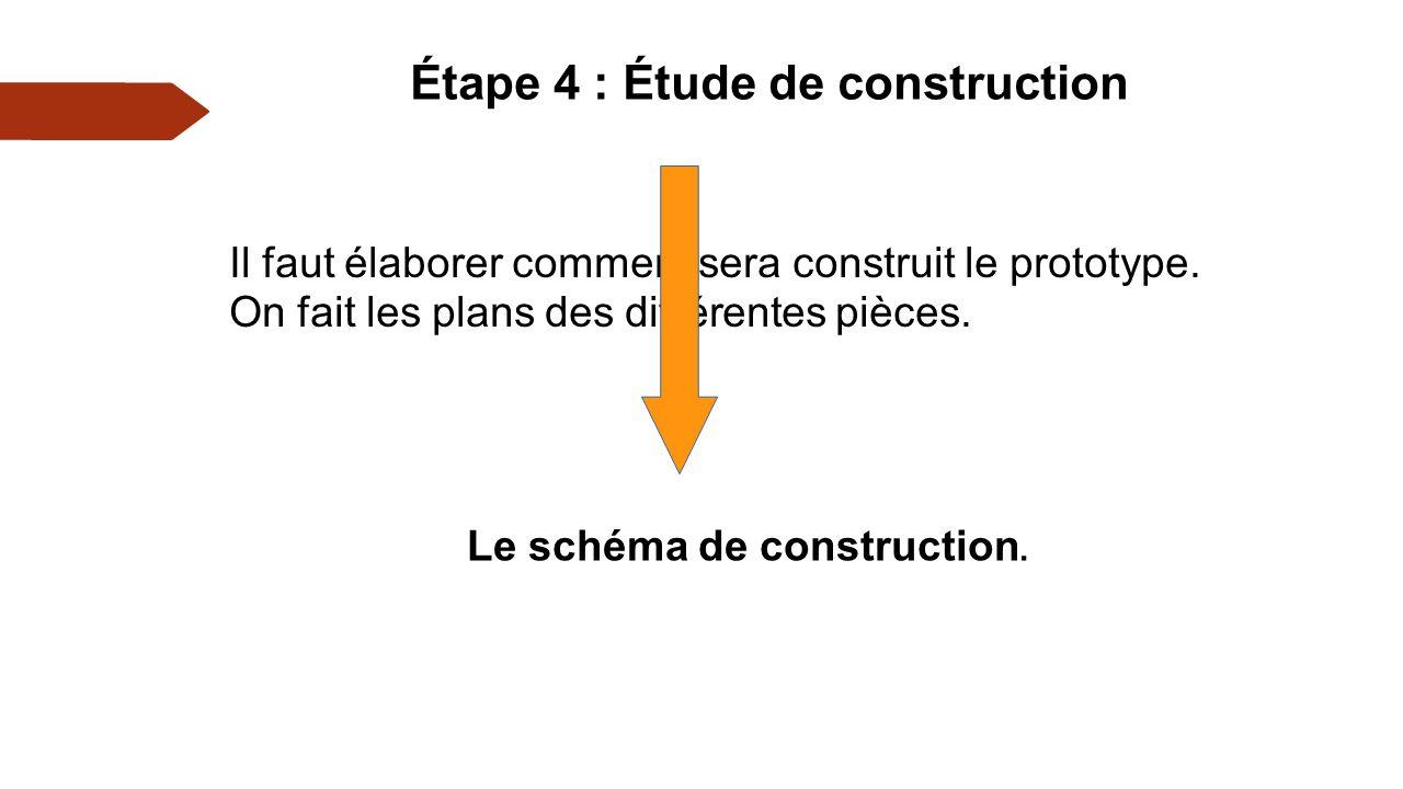 Étape 4 : Étude de construction Il faut élaborer comment sera construit le prototype.