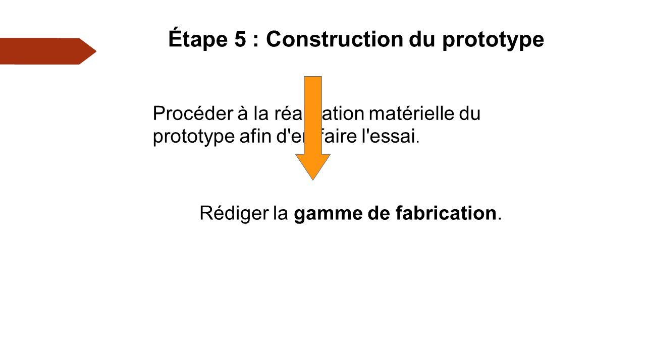 Étape 5 : Construction du prototype Rédiger la gamme de fabrication.