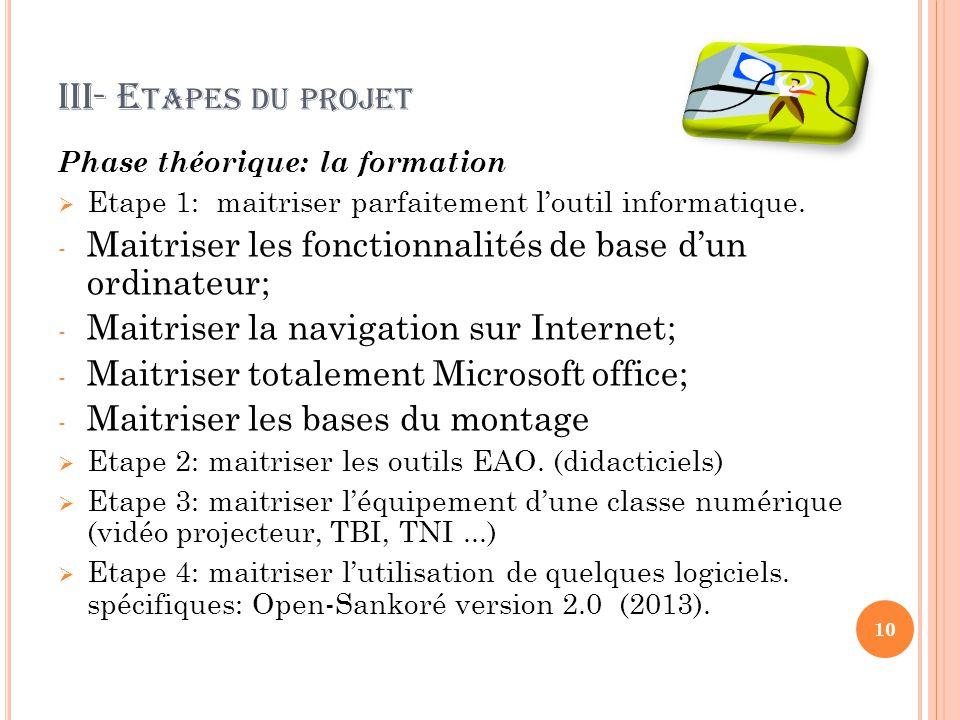 2-2 O BJECTIFS SPÉCIFIQUES Maitriser les outils de l'EAO (Enseignement Assister par Ordinateur; Maitriser l'EIAO (l'enseignement intelligent/interactif assisté par ordinateur); Numériser des ressources pédagogiques locales afin de les rendre disponibles; Créer une communauté virtuelle de partage par la mutualisation.