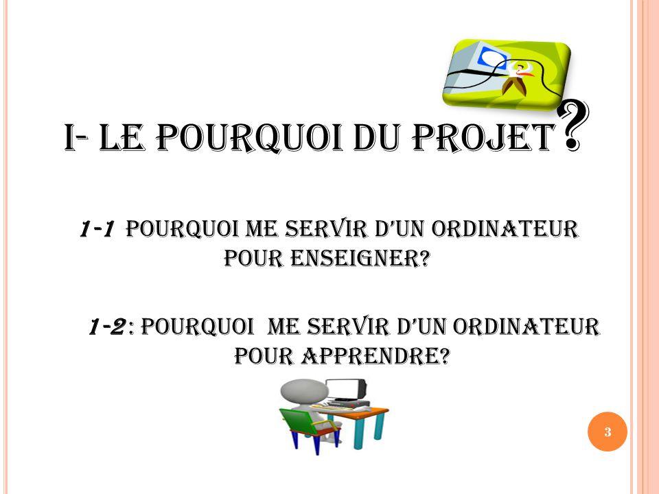 PLAN I- Le pourquoi du projet II- Objectifs du projet III- Etapes du projet IV: A quel niveau suis-je.