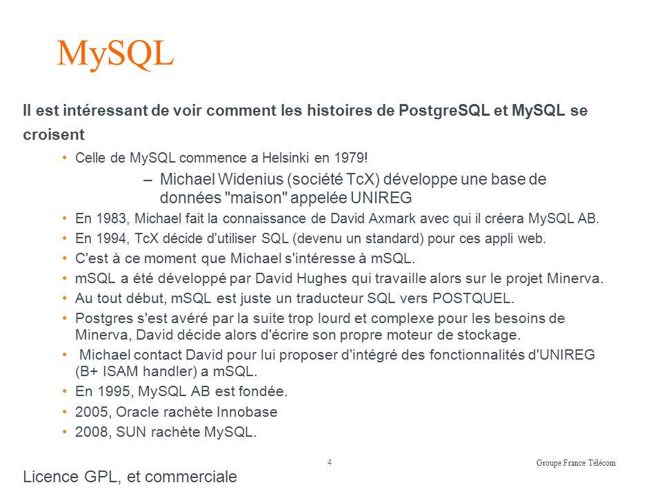 4 Groupe France Télécom MySQL Il est intéressant de voir comment les histoires de PostgreSQL et MySQL se croisent Celle de MySQL commence a Helsinki en 1979.