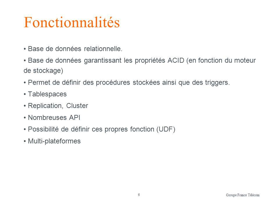 6 Fonctionnalités Base de données relationnelle.