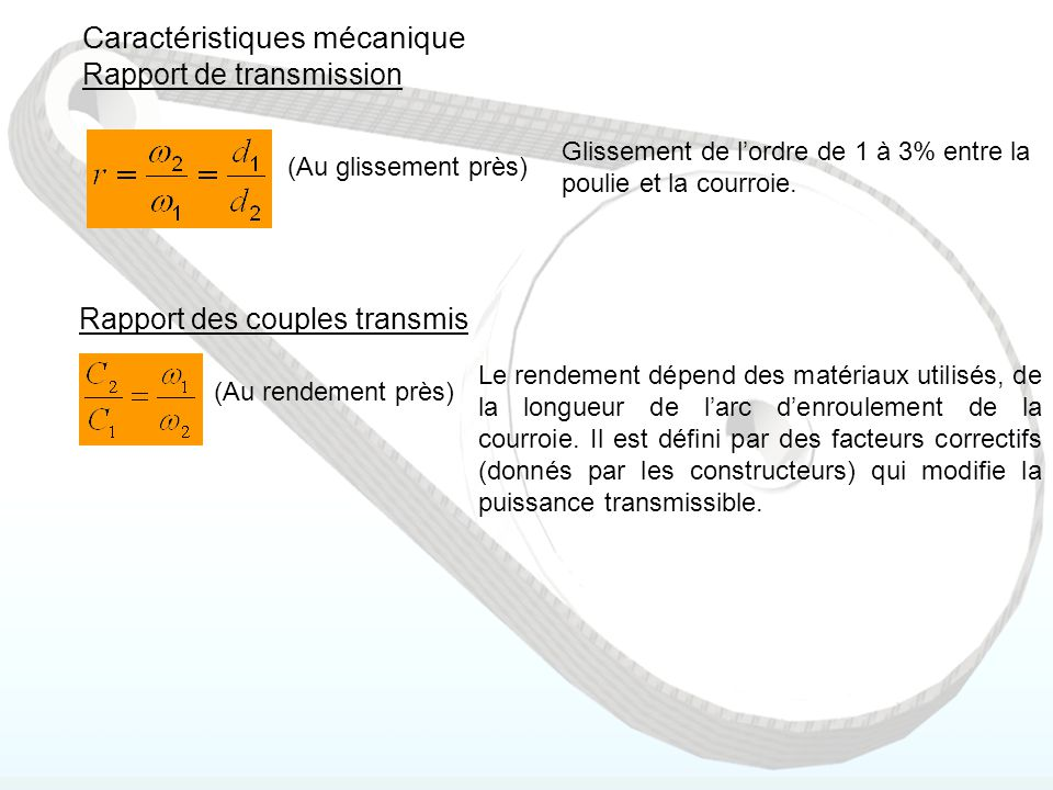 Caractéristiques mécanique Rapport de transmission (Au glissement près) Glissement de l'ordre de 1 à 3% entre la poulie et la courroie. Rapport des co