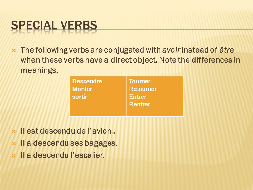 The following verbs are conjugated with avoir instead of être when these verbs have a direct object.