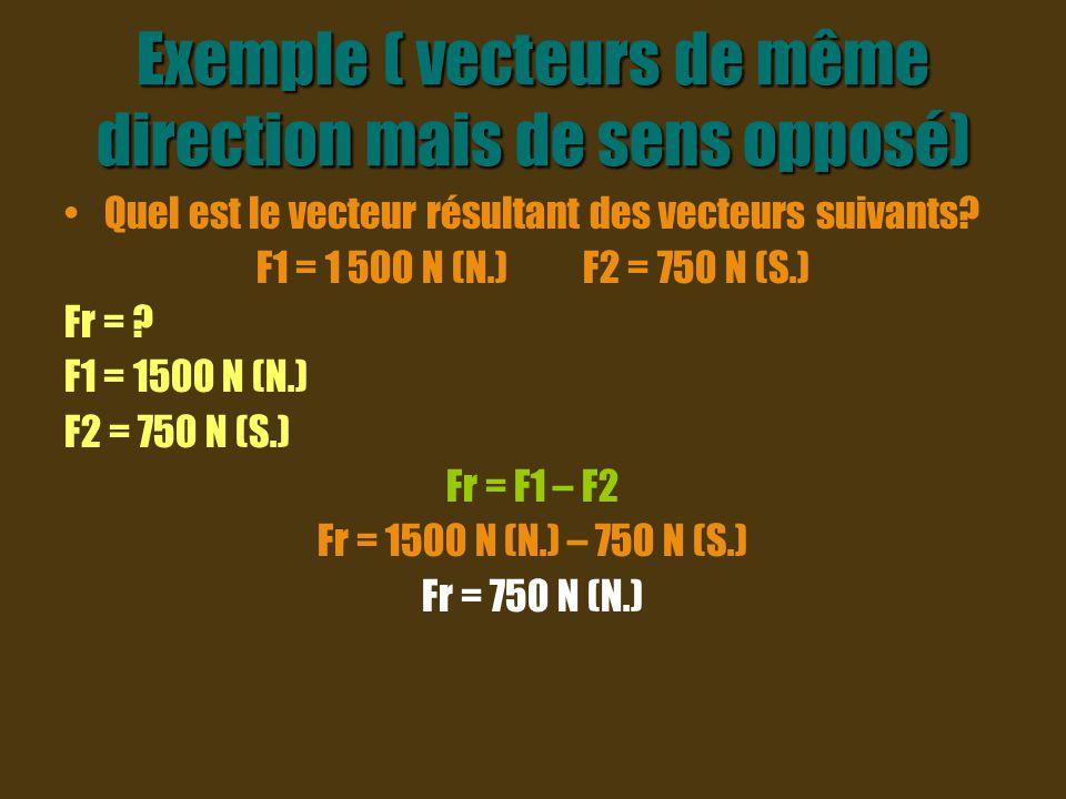 Vecteur résultant Il faut faire attention à l orientation de tes vecteurs quand on cherche le vecteur résultant.