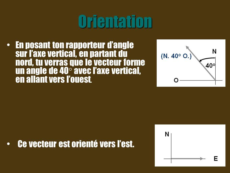 Orientation L'orientation d'un vecteur commence toujours par le point cardinal Nord ou Sud car l axe vertical est toujours utilisé comme axe de référence.