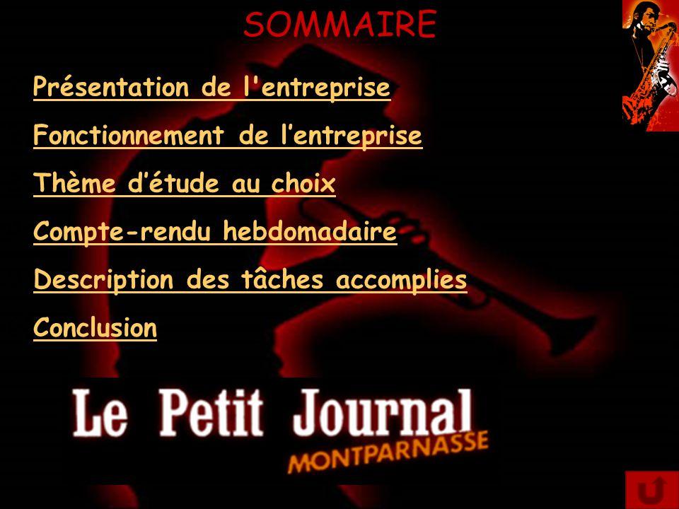 Présentation de l'entreprise Historique: Le Petit Journal Montparnasse est un restaurant jazz-club qui est renommé pour ses nombreuses visites d'artistes connues, lors de ses soirées spectacles.