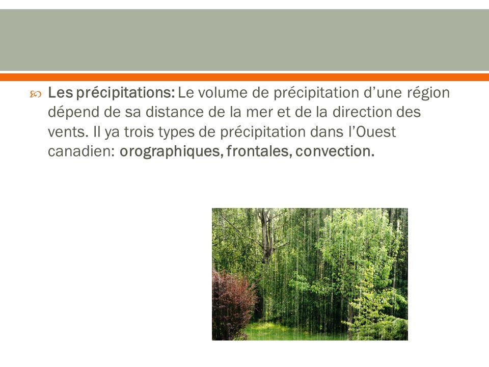  Les précipitations: Le volume de précipitation d'une région dépend de sa distance de la mer et de la direction des vents.
