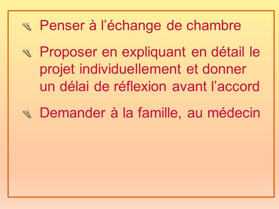 Penser à l'échange de chambre Proposer en expliquant en détail le projet individuellement et donner un délai de réflexion avant l'accord Demander à la famille, au médecin