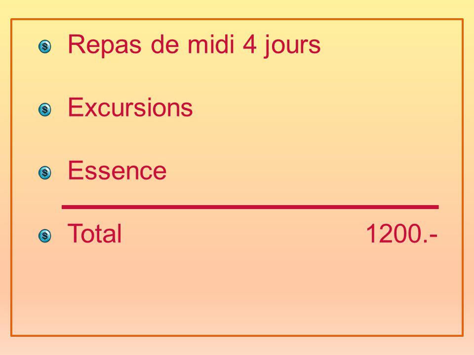 Repas de midi 4 jours Excursions Essence Total 1200.-