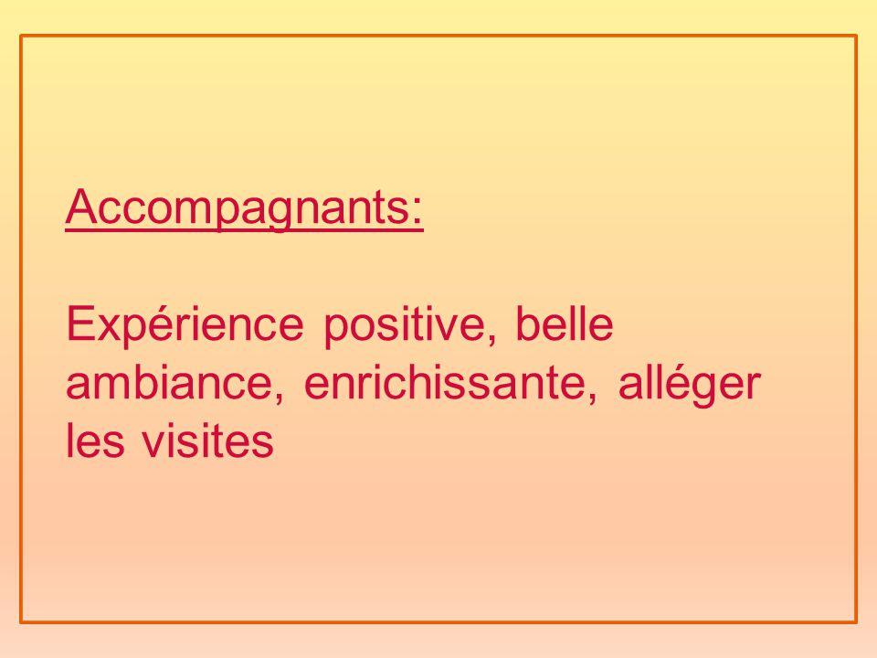 Accompagnants: Expérience positive, belle ambiance, enrichissante, alléger les visites