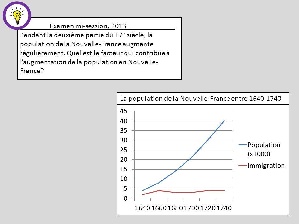 La population de la Nouvelle-France entre 1640-1740 Examen mi-session, 2013_____________ Pendant la deuxième partie du 17 e siècle, la population de la Nouvelle-France augmente régulièrement.