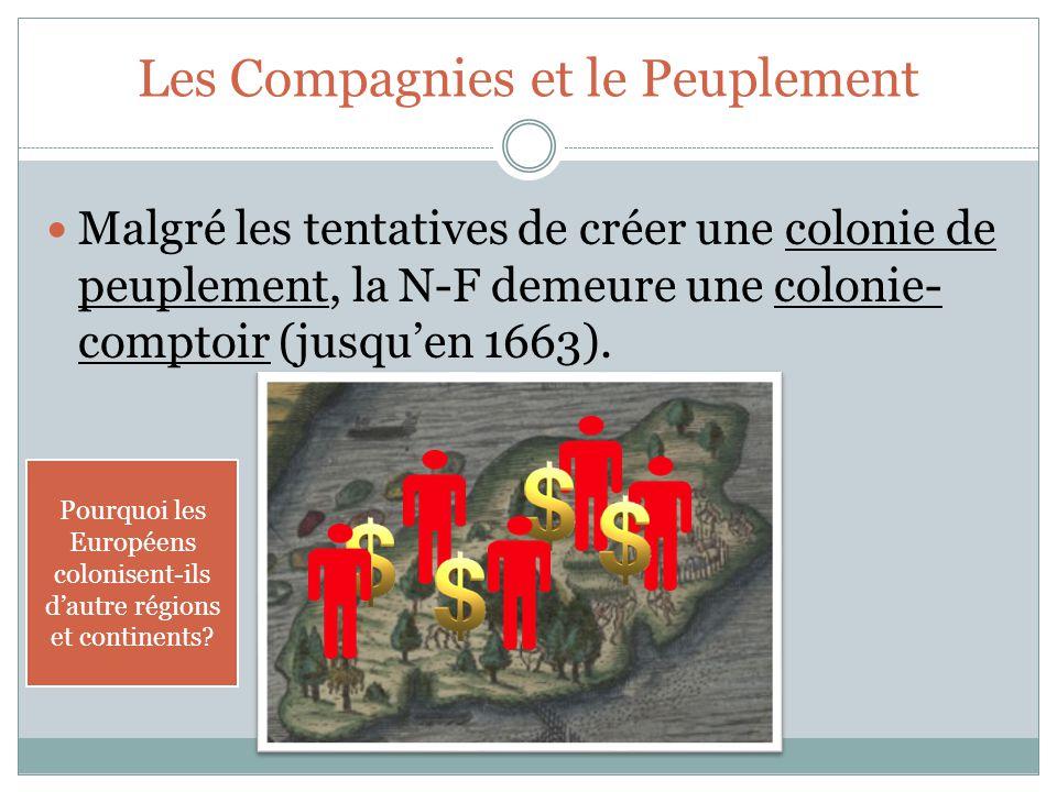 Les Compagnies et le Peuplement Malgré les tentatives de créer une colonie de peuplement, la N-F demeure une colonie- comptoir (jusqu'en 1663).