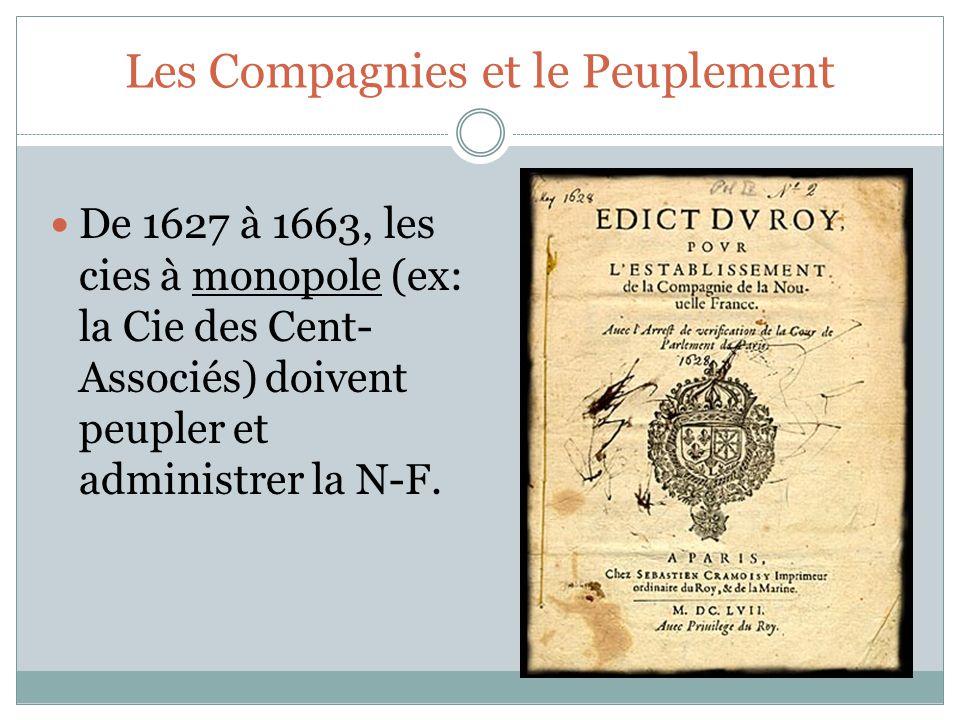 De 1627 à 1663, les cies à monopole (ex: la Cie des Cent- Associés) doivent peupler et administrer la N-F.