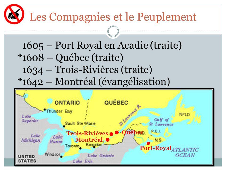 Les Compagnies et le Peuplement 1605 – Port Royal en Acadie (traite) *1608 – Québec (traite) 1634 – Trois-Rivières (traite) *1642 – Montréal (évangélisation) Port-Royal Québec Trois-Rivières Montréal