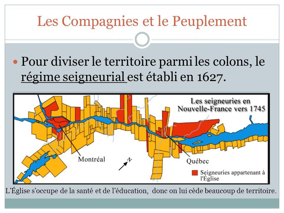 Les Compagnies et le Peuplement Pour diviser le territoire parmi les colons, le régime seigneurial est établi en 1627.