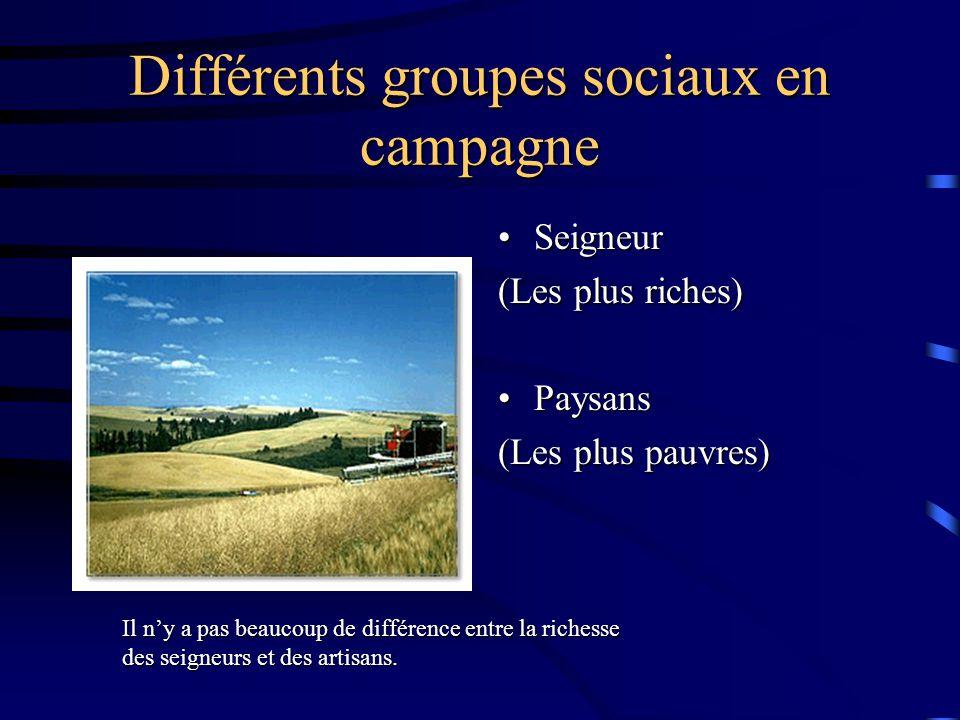 Différents groupes sociaux en campagne SeigneurSeigneur (Les plus riches) PaysansPaysans (Les plus pauvres) Il n'y a pas beaucoup de différence entre la richesse des seigneurs et des artisans.