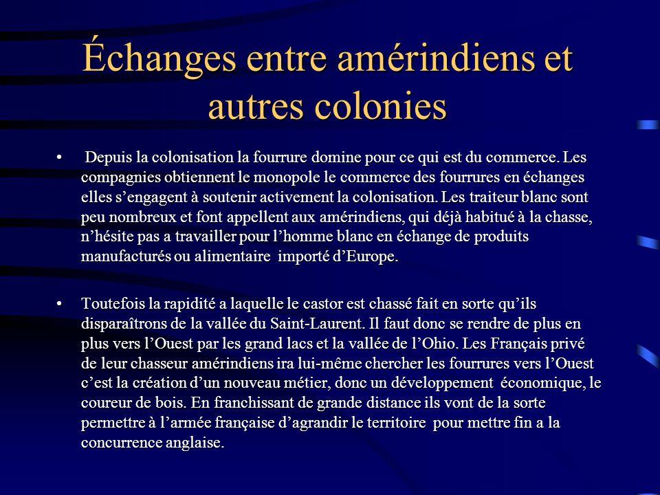 Échanges entre amérindiens et autres colonies Depuis la colonisation la fourrure domine pour ce qui est du commerce.