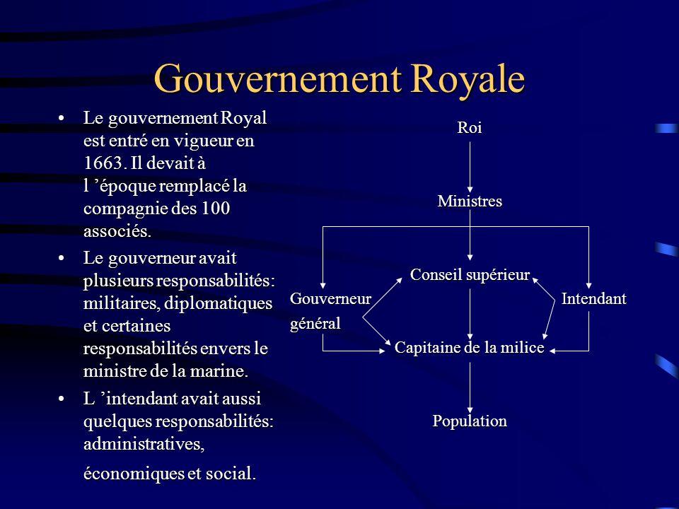 Gouvernement Royale Le gouvernement Royal est entré en vigueur en 1663.