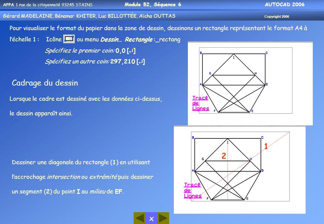 x AFPA 1 rue de la citoyenneté 93245 STAINS Module 52, Séquence 6 AUTOCAD 2006 Gérard MADELAINE, Bénamar KHITER, Luc BILLOTTÉE, Aïcha OUTTAS Copyright 2006 20 Pour visualiser le format du papier dans la zone de dessin, dessinons un rectangle représentant le format A4 à l'échelle 1 : Icône ou menu Dessin… Rectangle :_rectang Spécifiez le premier coin: 0,0 [  ] Spécifiez un autre coin: 297,210 [  ] Lorsque le cadre est dessiné avec les données ci-dessus, le dessin apparaît ainsi.