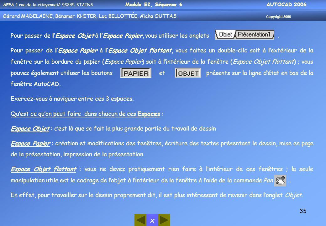 x AFPA 1 rue de la citoyenneté 93245 STAINS Module 52, Séquence 6 AUTOCAD 2006 Gérard MADELAINE, Bénamar KHITER, Luc BILLOTTÉE, Aïcha OUTTAS Copyright 2006 35 Pour passer de l'Espace Objet à l'Espace Papier, vous utiliser les onglets.