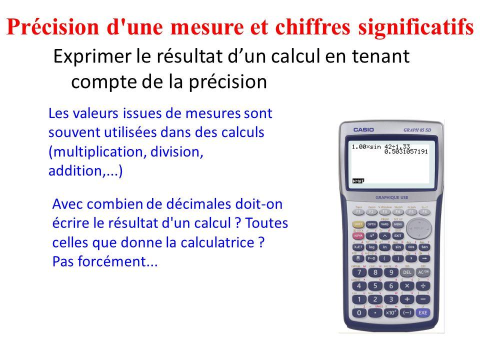 Exprimer le résultat d'un calcul en tenant compte de la précision Précision d'une mesure et chiffres significatifs Avec combien de décimales doit-on é