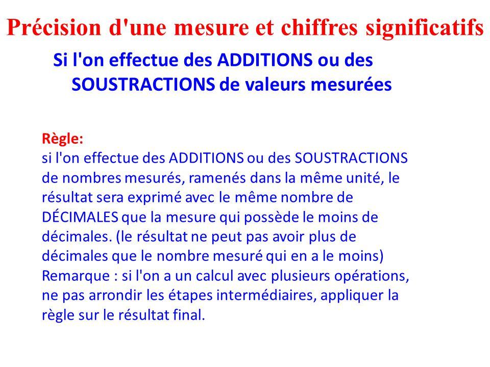 Si l'on effectue des ADDITIONS ou des SOUSTRACTIONS de valeurs mesurées Précision d'une mesure et chiffres significatifs Règle: si l'on effectue des A