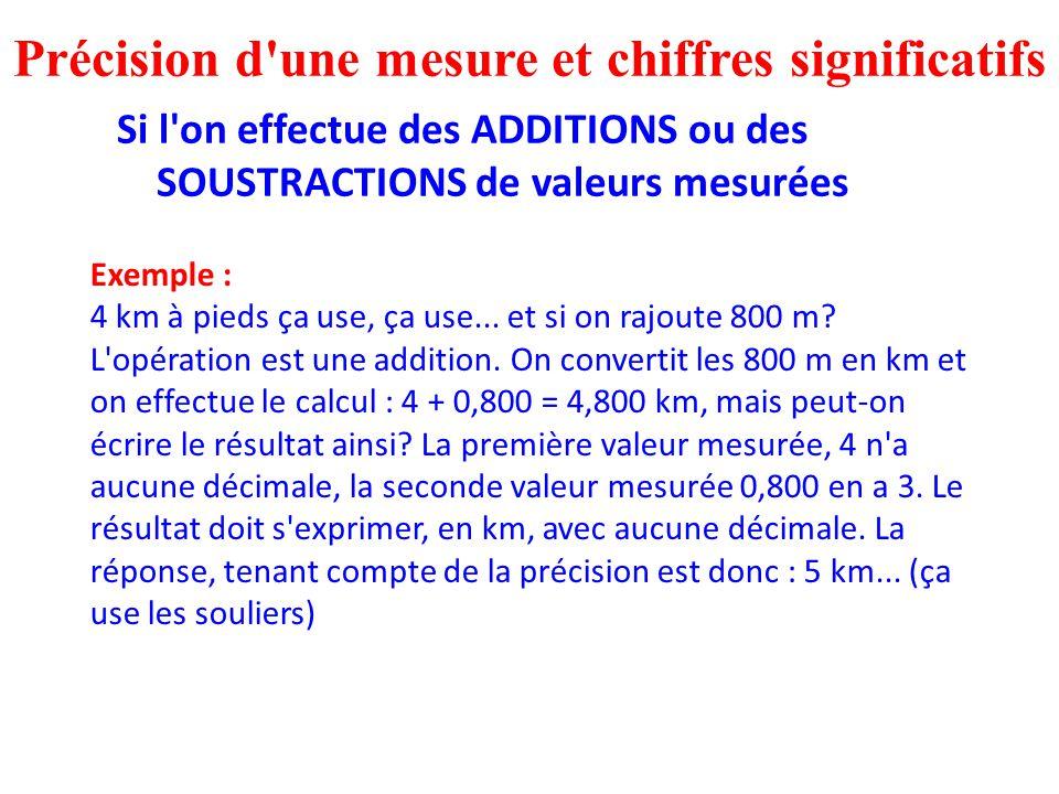 Précision d'une mesure et chiffres significatifs Si l'on effectue des ADDITIONS ou des SOUSTRACTIONS de valeurs mesurées Exemple : 4 km à pieds ça use