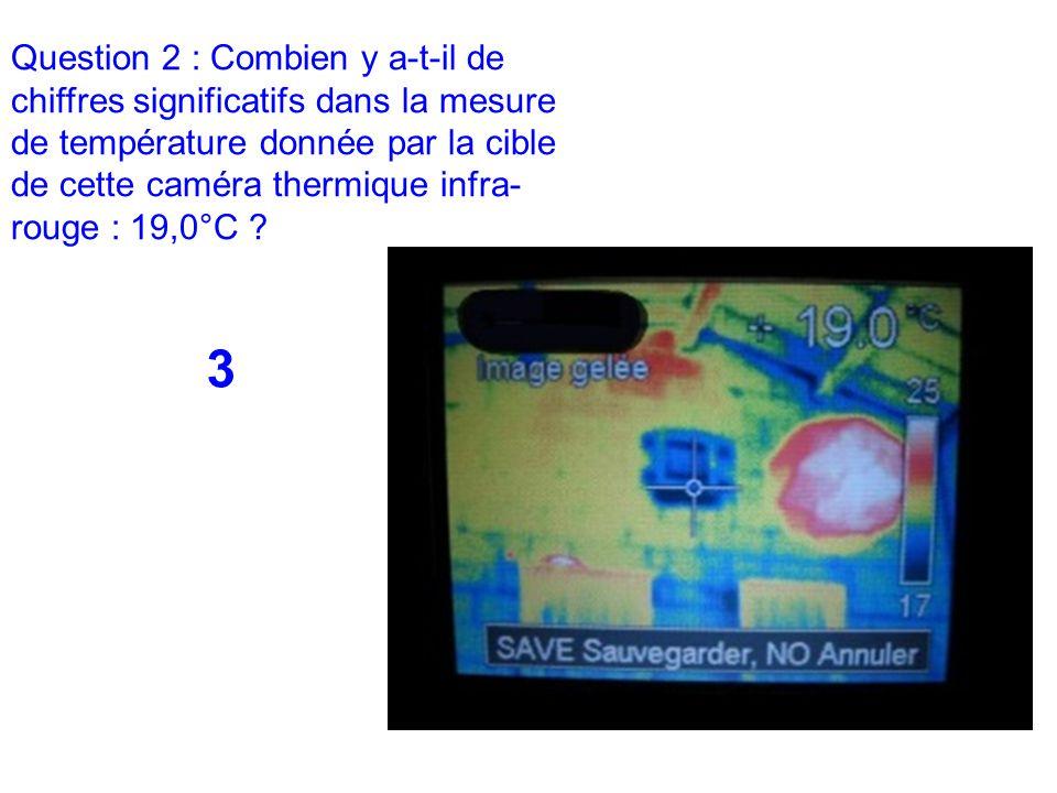 Question 2 : Combien y a-t-il de chiffres significatifs dans la mesure de température donnée par la cible de cette caméra thermique infra- rouge : 19,