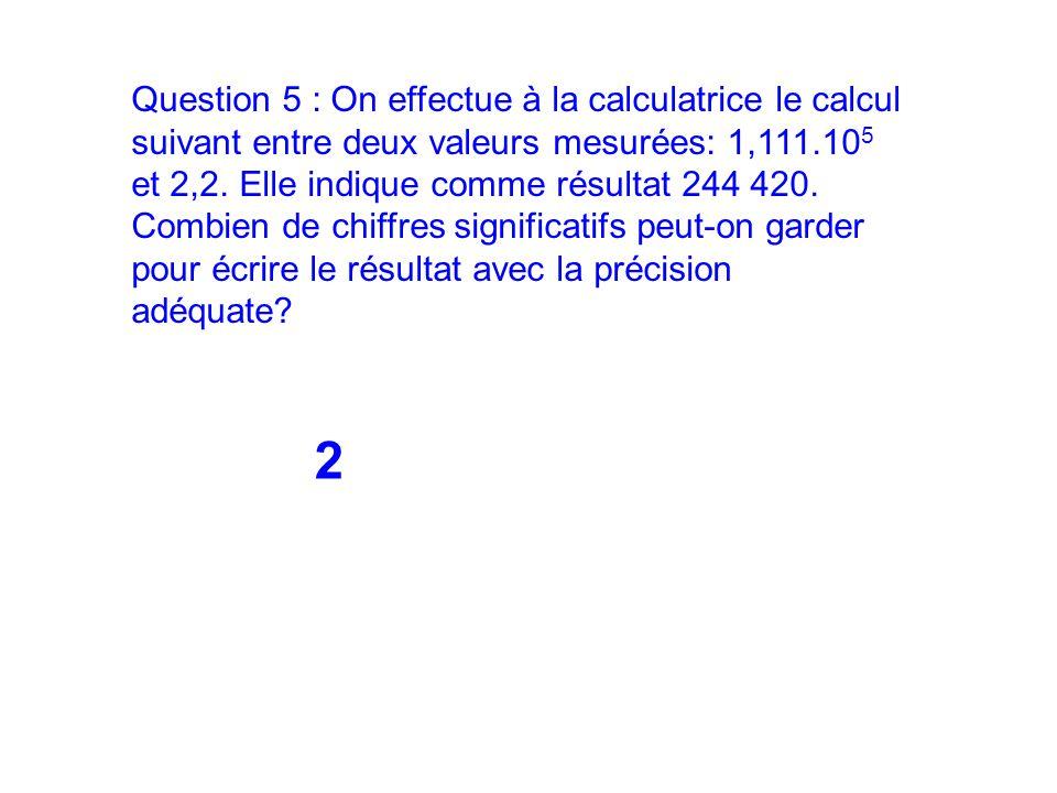 Question 5 : On effectue à la calculatrice le calcul suivant entre deux valeurs mesurées: 1,111.10 5 et 2,2. Elle indique comme résultat 244 420. Comb