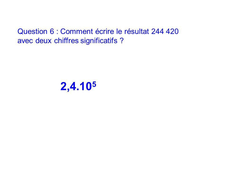 Question 6 : Comment écrire le résultat 244 420 avec deux chiffres significatifs ? 2,4.10 5