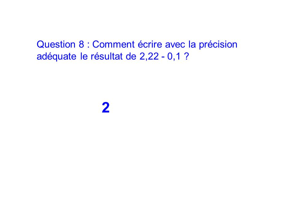 Question 8 : Comment écrire avec la précision adéquate le résultat de 2,22 - 0,1 ? 2