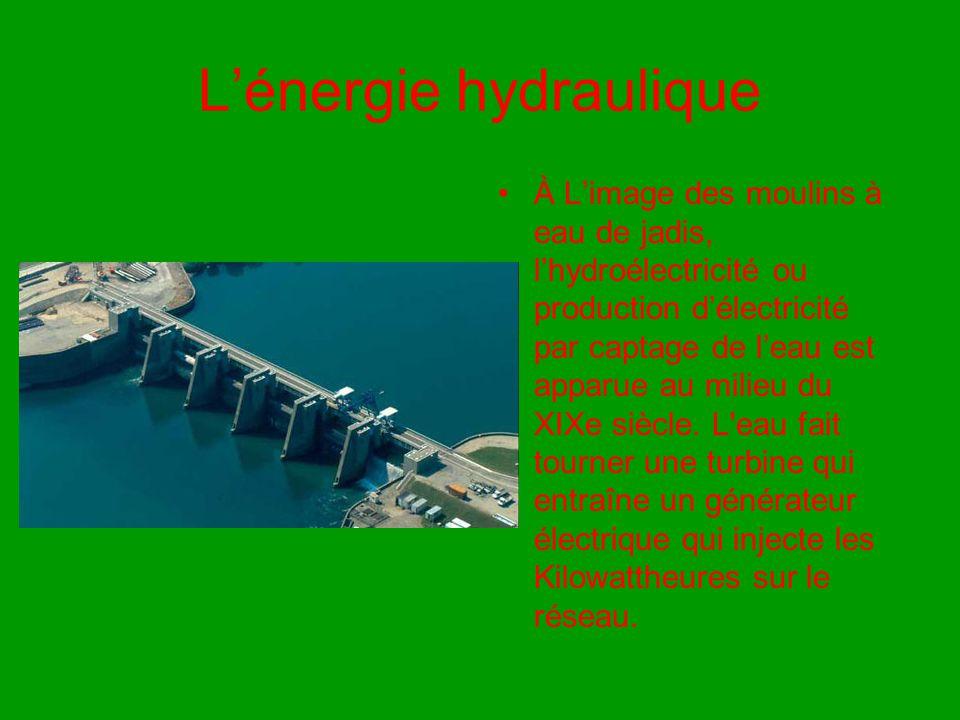 L'énergie hydraulique À L'image des moulins à eau de jadis, l'hydroélectricité ou production d'électricité par captage de l'eau est apparue au milieu