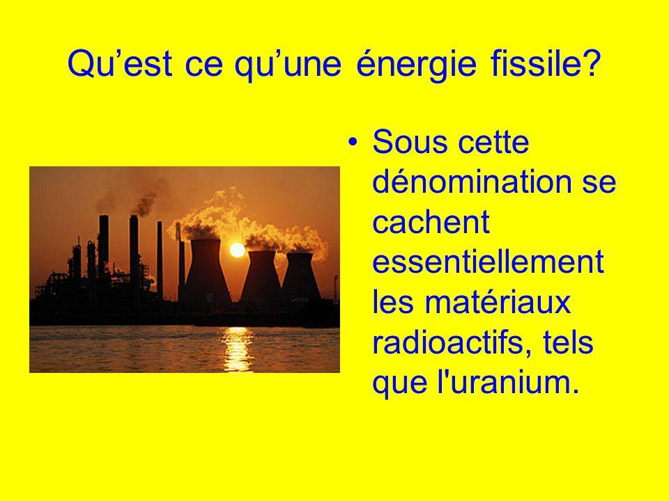 Qu'est ce qu'une énergie fissile? Sous cette dénomination se cachent essentiellement les matériaux radioactifs, tels que l'uranium.