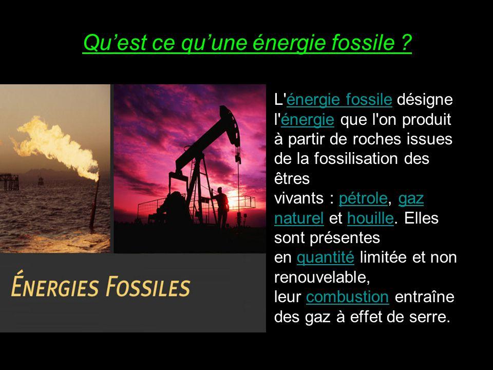 Qu'est ce qu'une énergie fossile ? L'énergie fossile désigne l'énergie que l'on produit à partir de roches issues de la fossilisation des êtres vivant