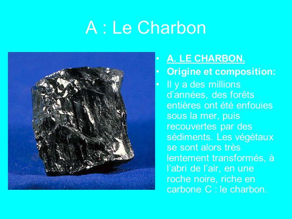 A : Le Charbon A. LE CHARBON. Origine et composition: Il y a des millions d'années, des forêts entières ont été enfouies sous la mer, puis recouvertes