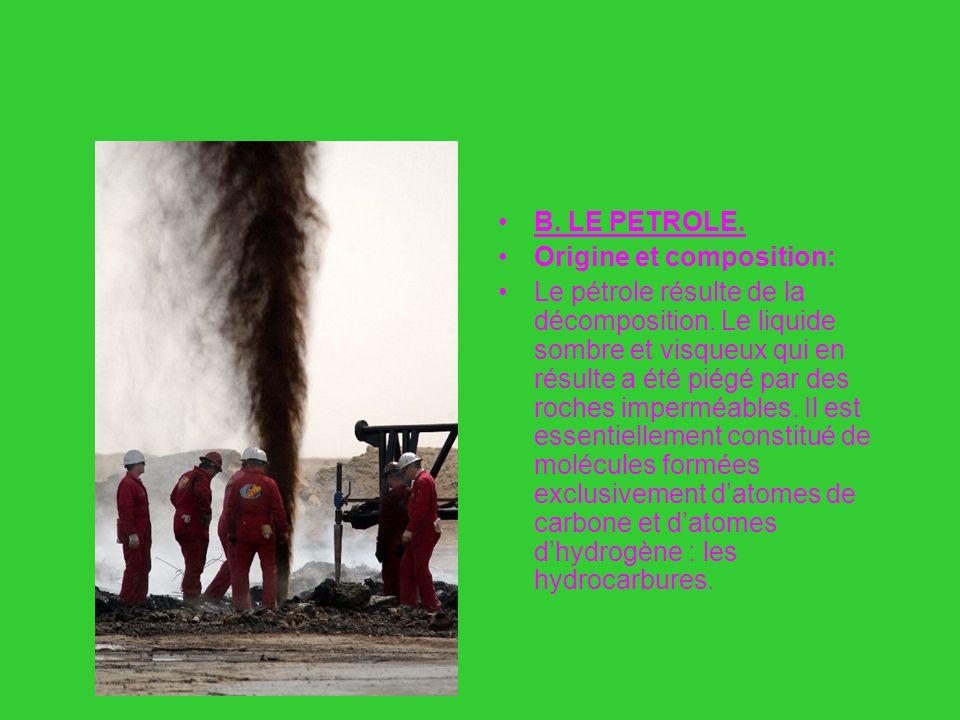 B : Le pétrole B. LE PETROLE. Origine et composition: Le pétrole résulte de la décomposition. Le liquide sombre et visqueux qui en résulte a été piégé