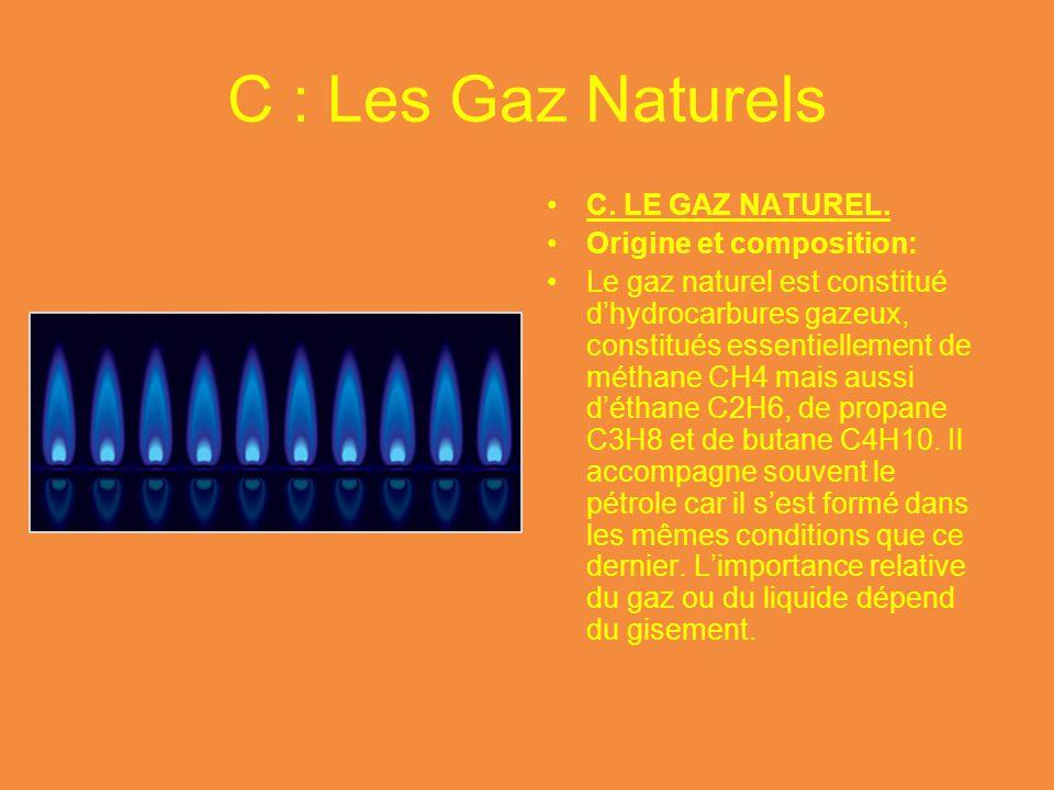 C : Les Gaz Naturels C. LE GAZ NATUREL. Origine et composition: Le gaz naturel est constitué d'hydrocarbures gazeux, constitués essentiellement de mét